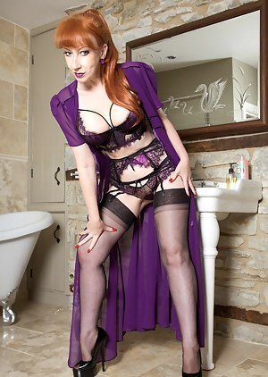 I decided that strutting My stuff in luscious lacy lingerie and matching purple negligee was far too good to keep to Myself, and it was time for a saucy striptease before a good soaping up in the bath.