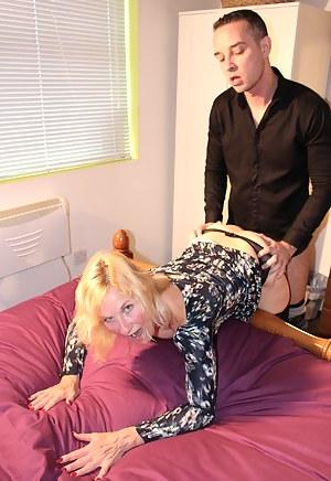 Naughty British mature lady doing her toy boy