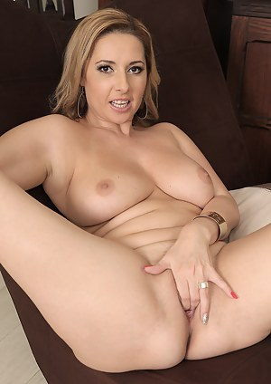 Latina honey Daria Glower shows her big boobs and uses a toy to pleasure herself