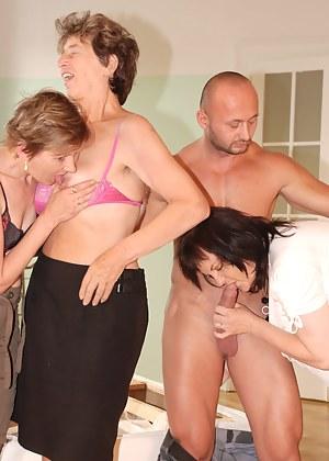 One lucky dude fucking three older ladies