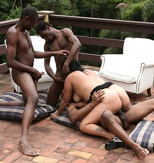 Three black guys and one horny mature nympho in action
