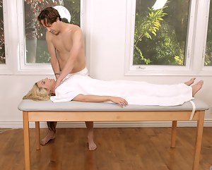 Milf enjoys a massage that ends with her getting  rammed on top of a table