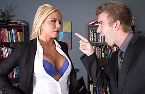 She has some beef with him, but that's not the point. She gets really aggressive but in a different way than you would expect her to.