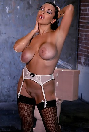 Sienna West takes a shower and plays with her perfect titties