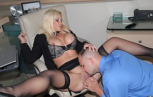 Hardcore fucking session features a beautiful MILF with big tits, who does blowjob and has her pussy licked in her office.